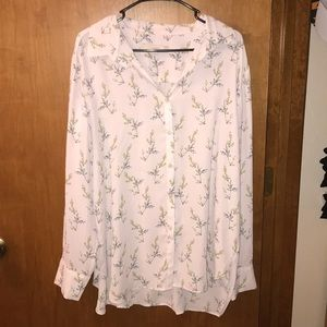 Button-Up Patterned Blouse